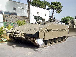 Namer - Operational Namer based on Merkava Mark IV. Notice the sloped side of the hull.