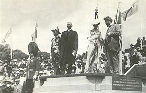 March 12: Australia begins building the new capital of Canberra. Naming of city of canberra capital hill 1913.jpg