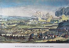 Print of a battle with Napoleon and his staff in the foreground and long lines of soldiers moving away from the viewer. In the center of the picture there is a hill that is being fought over.