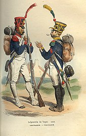 Colored print shows a French grenadier (left) and voltigeur (right) in 1808.