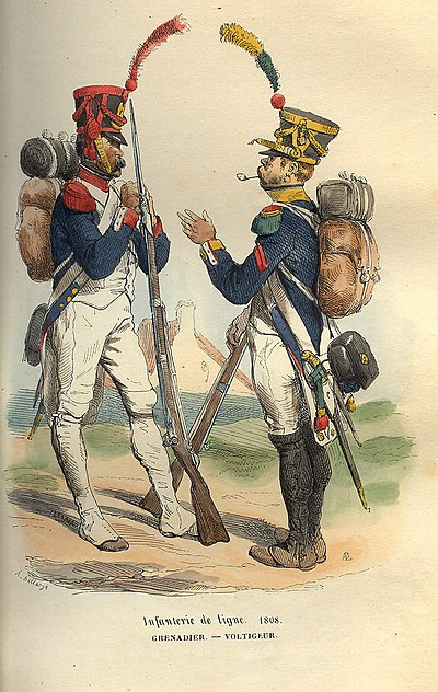 French grenadier (left) and voltigeur (right) of a line infantry regiment Napoleon Grenadier and Voltigeur of 1808 by Bellange.jpg