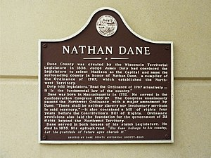 Nathan Dane - Marker erected by the Dane County Historical Society