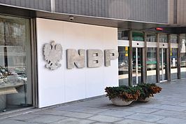 logo op Nationale Bank van Polen in Warschau