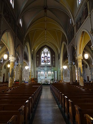 St. Patrick's Church (Lowell, Massachusetts) - Image: Nave and altar of Saint Patrick Church; Lowell, MA; 2012 05 19