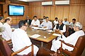 Naveen Patnaik meeting the Union Minister for Mines, Steel and Labour & Employment, Shri Narendra Singh Tomar, in Bhubaneswar on August 27, 2014. The Secretary, Ministry of Mines, Dr. Anup K. Pujari is also seen.jpg