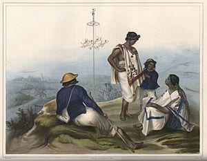Danza de los Voladores - Voladores ca. 1836, by Carl Nebel