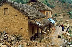 Houses in rural parts of Nepal are made up of bamboo cowdung and earth.