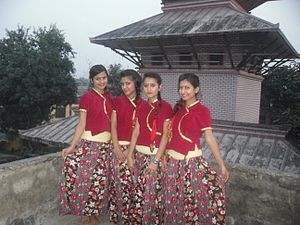 Demographics of Nepal - Nepali girls in traditional Khas Pahadi attire