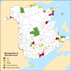Map showing locations of all of New Brunswick's municipalities