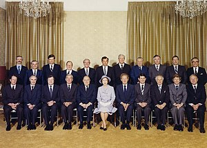 Government of New Zealand - Elizabeth II and the New Zealand Cabinet, taken during the Queen's 1981 tour of the country.