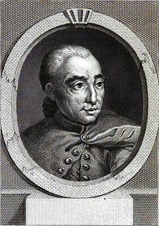 Portrait de Nicolas Edme Restif de La Bretonne en 1785. Gravure de Berthet d'après un dessin de Louis Binet, parue dans Le Drame de la vie.