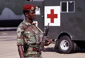 Niger Armed Forces - A paratrooper of the FAN Parachute Company armed with an Israeli-made Uzi submachine gun, 1988