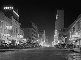 Elm Street at night, January 1942 Night view, downtown section, Dallas, Texas ppmsca09600u.jpg