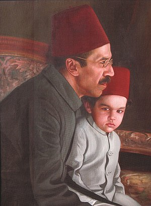 Osman Ali Khan, Asaf Jah VII - Nizam VII with his heir apparent and grandson Mukarram Jah