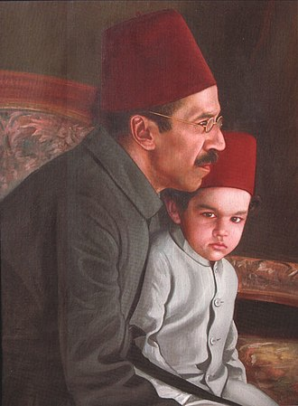 Mir Osman Ali Khan - Nizam VII with his heir apparent and grandson Mukarram Jah
