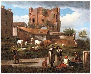 Norbert van Bloemen - Figures conversing along a path with cattle grazing