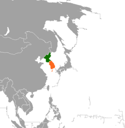 Map indicating locations of North Korea and South Korea