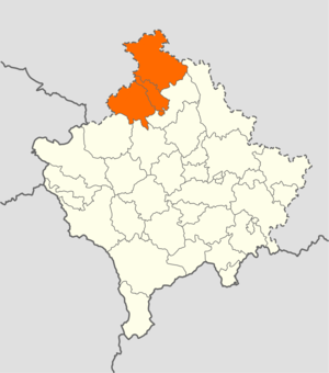 North Kosovo - North Kosovo is marked in orange
