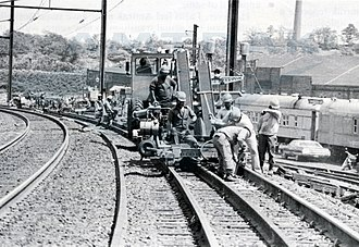 Northeast Corridor - Northeast Corridor Improvement Project track work in April 1979