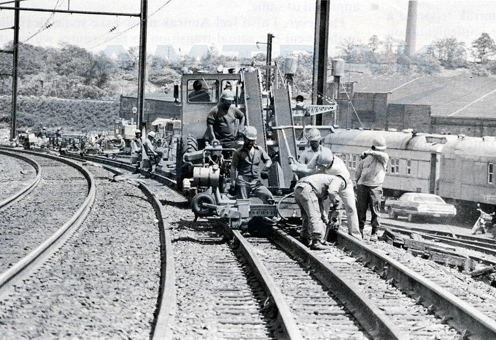 Northeast Corridor Improvement Project track work, April 1979