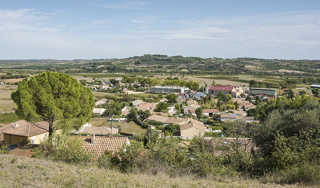 The northern part of the village of Murviel-lès-Béziers, Hérault, France. Seen from West.