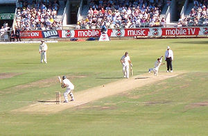 Makhaya Ntini -  Makhaya Ntini (second right) bowls at the WACA Ground, Perth, Australia on 16 December 2005, the first day of the First Test, Australia v South Africa. Ntini took five wickets for 64 runs on the day. He made his international debut at the WACA, in 1998.