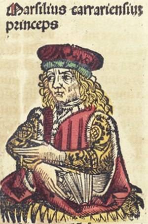 Marsilio da Carrara - Generic portrait of Marsilius carrariensium princeps, woodcut from the Nuremberg Chronicle