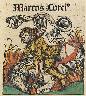 Marcus Curtius - Marcus Curtius in  the Nuremberg Chronicle (1493)