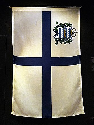 Flag of Finland - Former flag of Nyländska Jaktklubben (1861-1919), on display at the Maritime Museum of Finland in Kotka, Finland.