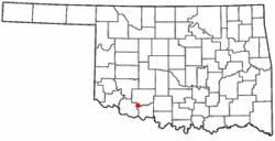 Location of Chattanooga, Oklahoma