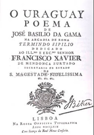 Basílio da Gama - The front cover of Gama's O Uraguai
