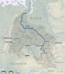Ob River Map Ob River   Wikipedia