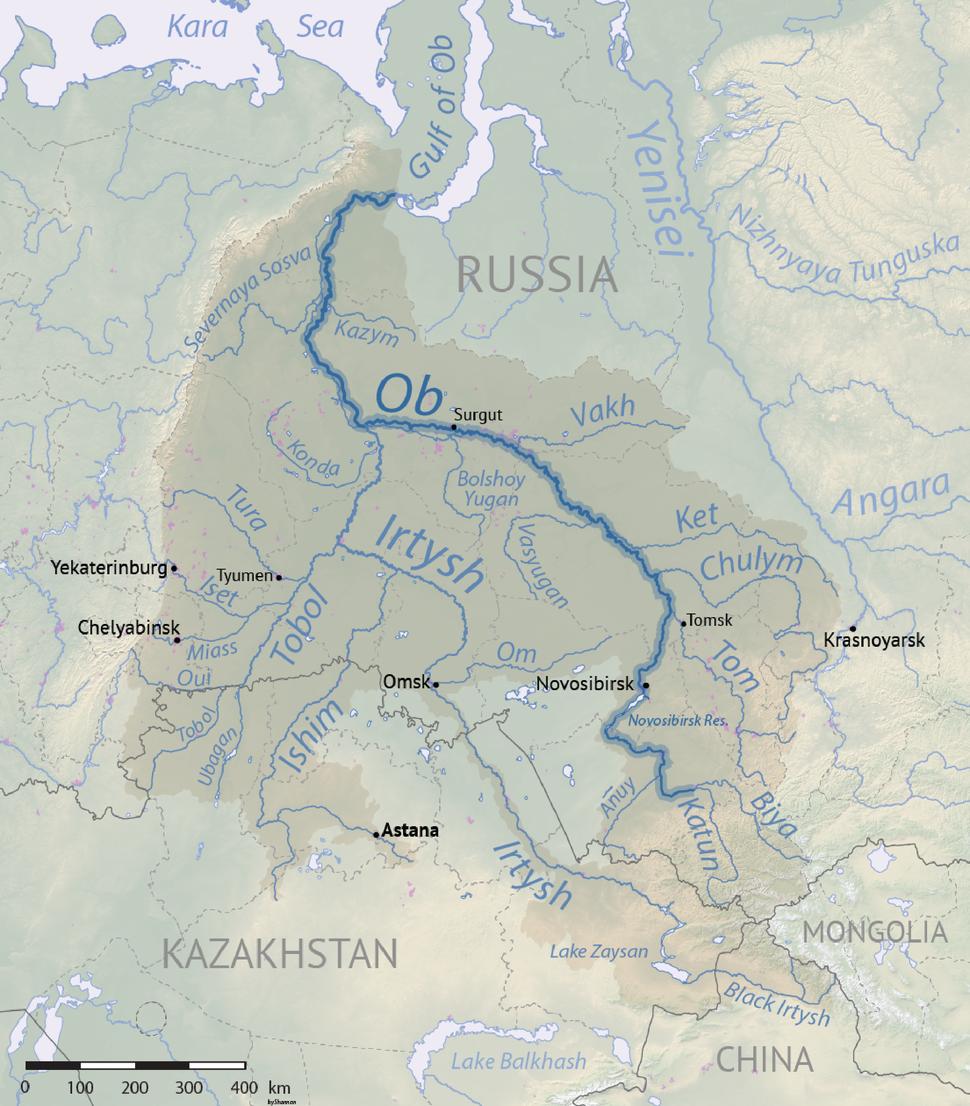 Ob river basin map
