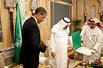 President Barack Obama receives the King Abdul Aziz Order of Merit on June 3, 2009.