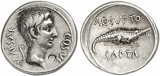 Gebel el-Silsila - Roman coin Octavianus Aegypto capta from another area depicting a crocodile on reverse and Augustus on the obverse.