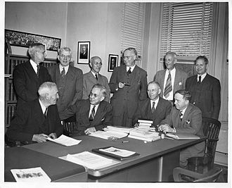 American Association for the Advancement of Science - AAAS officers and senior officials in 1947. Left to right, standing: Sinnott, Baitsell, Payne, Lark-Horovitz, Miles, Stakman, sitting: Carlson, Mather, Moulton, Shapley.