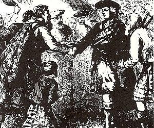 Siege of St. Augustine (1740) - Oglethorpe Greeting the Highlanders of Darien, the 42nd Regiment of Foot (old)
