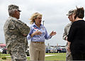 Oklahoma Gov. Mary Fallin, second from left, discusses tornado damage with U.S. Army Maj. Gen. Myles Deering, left, the adjutant general for Oklahoma, Gen. Frank Grass, second from right, the chief of 130528-Z-TK779-043.jpg