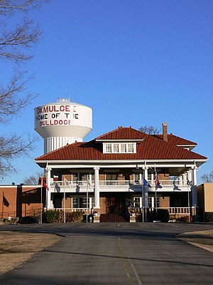 Okmulgee, Oklahoma - Elks Lodge and Water Tower in Okmulgee, Oklahoma