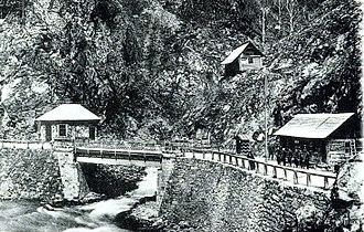 Jiu River - Border checkpoint between Romania and Austria-Hungary on the Jiu gorge (cca. 1914)
