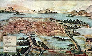 Fray Juan de Torquemada - a contemporary painting showing Mexico City in 1628; the view east, overlooking Lake Texcoco