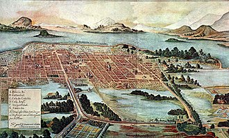 Cuauhtémoc, Mexico City - Mexico City circa 1628 still surrounded by Lake Texcoco