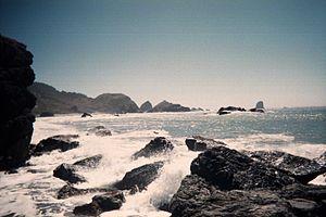 Waves crashing on rocks on the Southern Oregon...