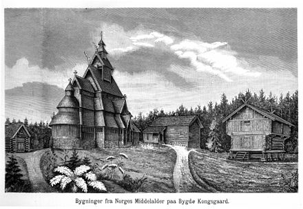 The open-air museum of King Oscar II at Bygdoy near Oslo in the museum guide of 1888. The world's first open-air museum was founded in 1881. Oscar1888.jpg