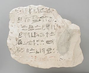 Prophecy of Neferti - Ostrakon with fragment of the Prophecy of Neferti at LACMA (M.80.203.196)