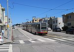 Outbound train at Taraval and 44th Avenue, June 2018.JPG