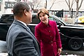 Outgoing Attorney General Lori Swanson greets Keith Ellison, Minnesota's newly elected Attorney General.jpg
