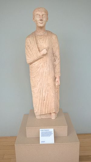 Oxyrhynchus - A citizen of Oxyrhynchus. Limestone statue from Egypt circa 300 to 200 BC, on display in the National Museum of Scotland.
