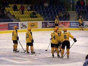 VHK Vsetín - Players of VHK Vsetín warming up before the 2nd Czech Republic Hockey League's 3rd play-off game with HC ZUBR Přerov in Přerov.