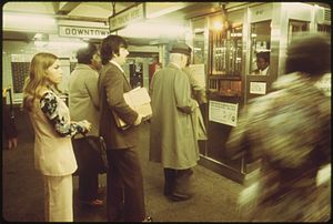 Breaching experiment - In line to buy subway tokens in New York City